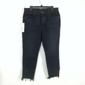 GRLFRND Karolina Jeans 31 Black Raw Hem High Rise